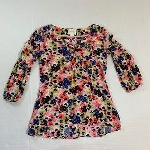 Anthropologie Maeve Floral BOHO Blouse Top 0